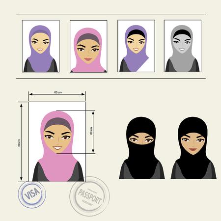 niqab: Set template face muslim girl . Vector illustration Illustration
