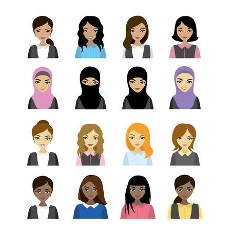 Set female faces  of different races, vector illustration Illustration