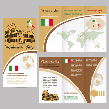 amphitheater: Travelers guide or banner with italy map and text. vector Illustration