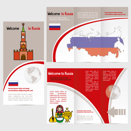 Travelers guide or banner with a map, Kremlin, russian symbols and text. vector
