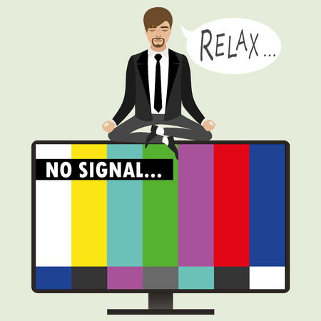 On the TV screen- no signal, a man sitting in the lotus position relaxes and meditates, vector illustration