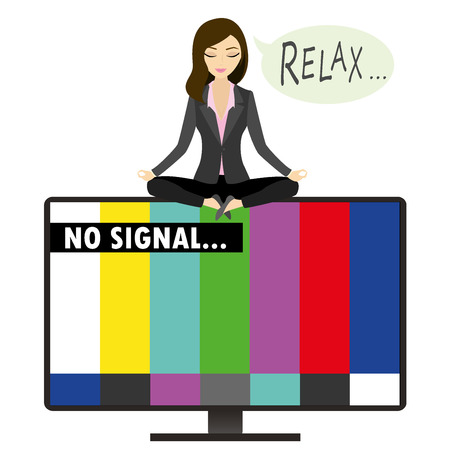 meditates: On the TV screen-  no signal, woman sitting in the lotus position relaxes and meditates, vector illustration
