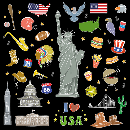 I love USA . Hand drawn doodle elements, objects or icon. American travel symbols on black background. Vector illustration