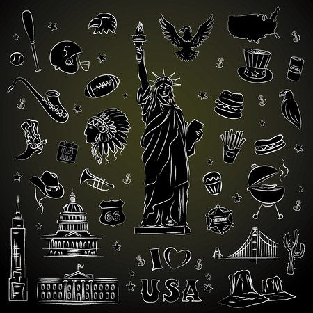 New York doodle line set. Hand drawn elements. American travel symbols. Vector pattern