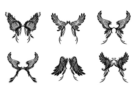 Set of Wings , isolated on white background,hand drawing, vector illustration. Illustration