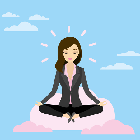 Business woman is meditating and relaxing with cloud computing in lotus pose,Vector illustration Ilustrace