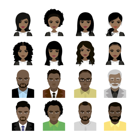 brown skin: Set of Black Women and man avatar isolated on white background . Faces and hair styles. Vector stock illustration