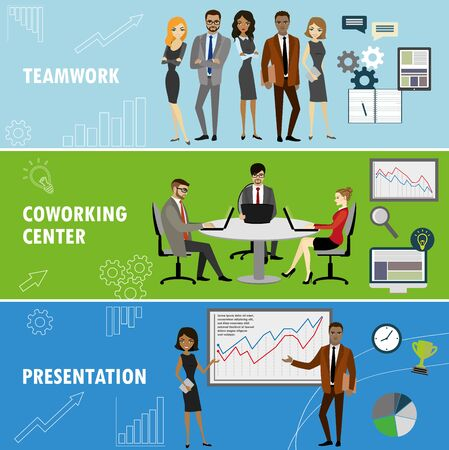 workteam: Set business banner. Teamwork,coworking and presentation. Business people in different situations.Vector illustration