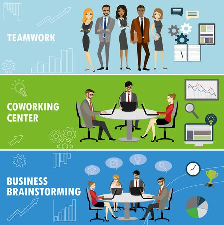 workteam: Set business banner. Teamwork,coworking and group brainstorming. Business people in different situations.Vector illustration