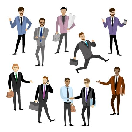 workteam: set of different businessman character,avatar or app icons in trendy flat style isolated on white background,stock vector illustration