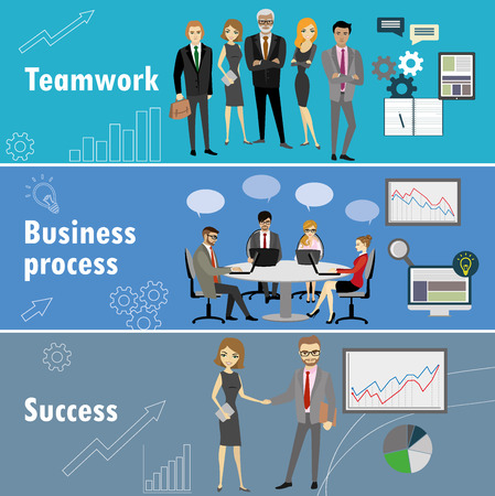 workteam: flat banner set with teamwork, business process and success, stock vector illustration