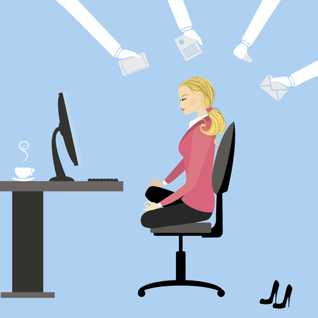 stress woman: Office workers or business woman sitting at the table. work without stress.Cartoon vector illustration
