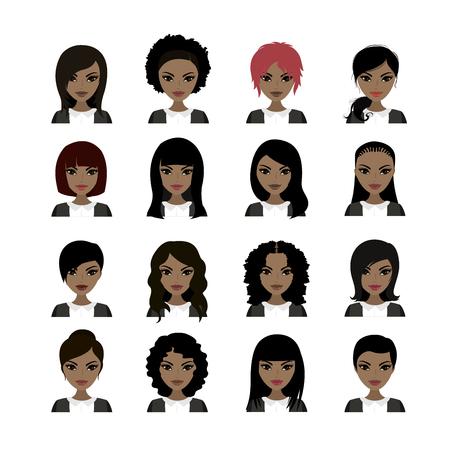 biracial: Vector Illustration of Black Women avatar. Faces and hair styles. Vector stock illustration Illustration