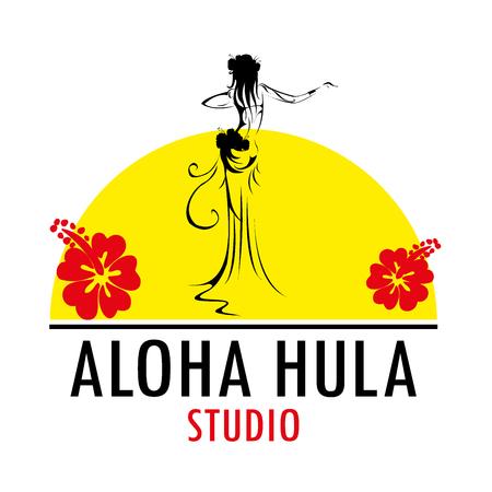 Hawaii vector logo design template. Beautiful Aloha Hula Studiolicon.