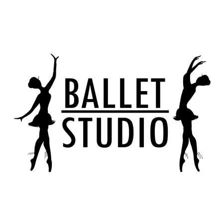 Design poster or logo ballet school, dance studio, stock vector illustration
