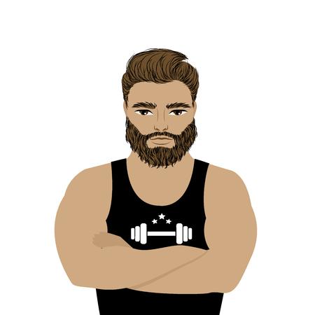 白い背景の強者選手イラスト。ひげを生やした流行に敏感。漫画のスポーツマン、男性。
