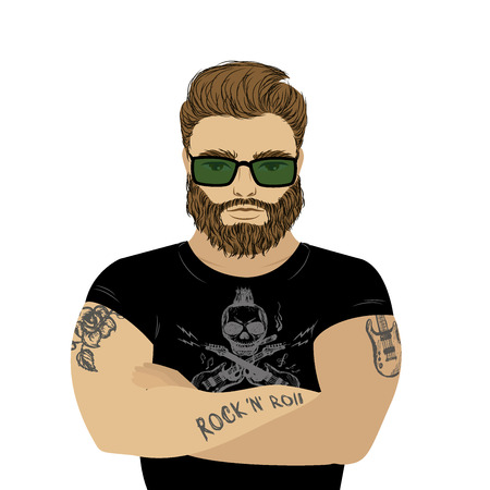 Strong man athlete illustration on white background. bearded hipster or biker with tattoo. Cartoon sportsman, male .