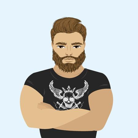 strong: Strong man athlete illustration on white background. bearded hipster. Cartoon sportsman, male . Illustration