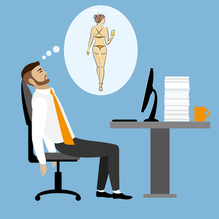 Overworked, tired businessman or office worker sitting at his desk and dreams about sexy girl ,Business stress. Flat style modern illustration.