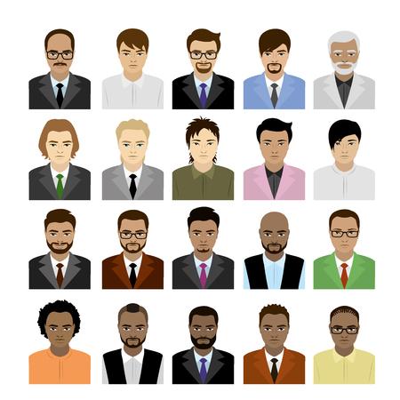 Grandes caras Set machos de diferentes razas, avatar o icono aisladas sobre fondo blanco, ilustración