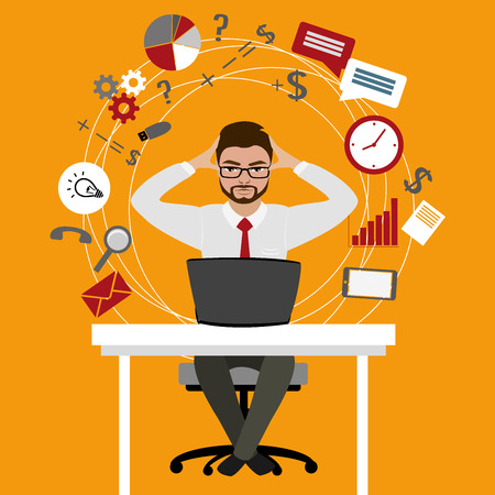 Overworked and tired businessman or office worker sitting at his desk ,Business stress. Flat style modern illustration.