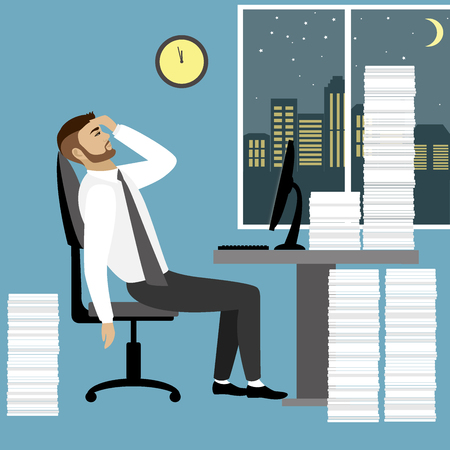tired worker: Overworked and tired businessman or office worker sitting at his desk with pile document binders,Business stress. Flat style modern illustration
