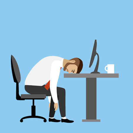 tired worker: Overworked and tired businessman or office worker sitting at his desk ,Business stress. Flat style modern illustration.