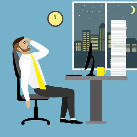 side table: Overworked and tired businessman or office worker sitting at his desk with pile document binders,Business stress. Flat style modern illustration.