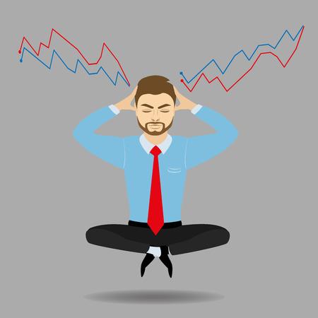 meditates: businessman meditates in lotus position. Harmony, relax, spiritual energy.Stock illustration in cartoon style. Illustration