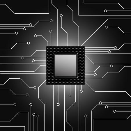 electronical: Cpu. Microprocessor. Microchip. Circuit board. illustration.