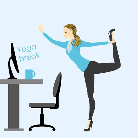 telephone cartoon: business woman in a yoga pose in the office at work, stock vector illustration