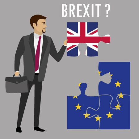 Brexit puzzle concept. British and European Union flag , referendum. Vector illustration background.