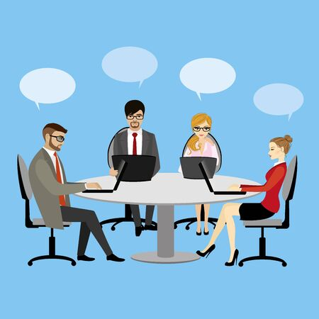 business discussion: People working at the desk business discussion teamwork, vector illustration
