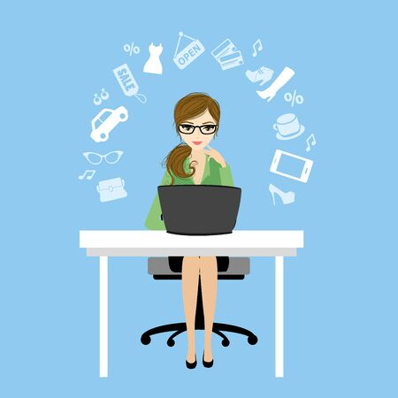 Business woman or office worker sitting at the computer and fashion icons or application,vector illustration Illustration