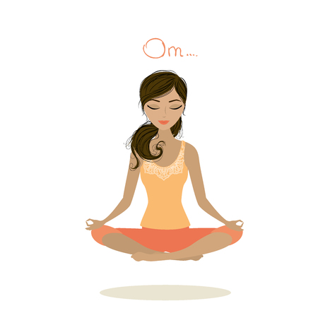 Woman meditating and relaxing in lotus pose, vector illustration