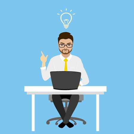 office computer: Businessman or office worker sitting at the computer,finance idea concept,vector illustration Illustration