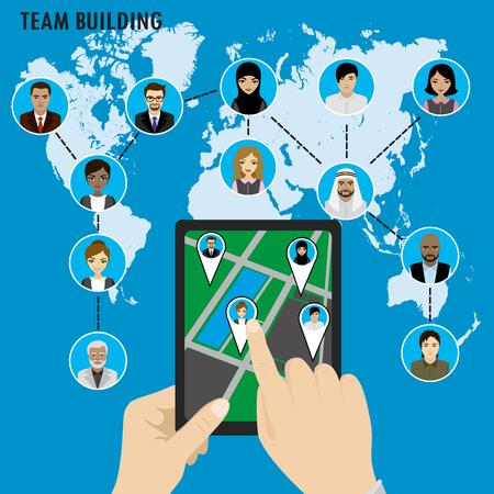 clouding: Business Team building. Different avatar people on world map. Smart technology.Horizontal composition., flat design. Vector illustration Illustration