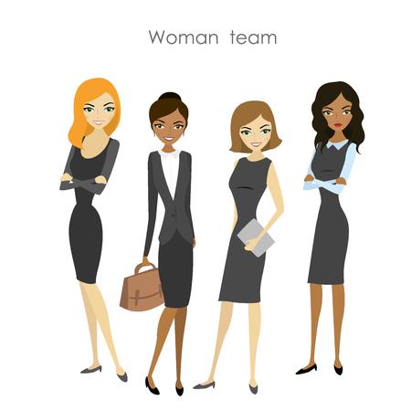 Set of four business woman, cartoon female business team, vector illustration Illustration