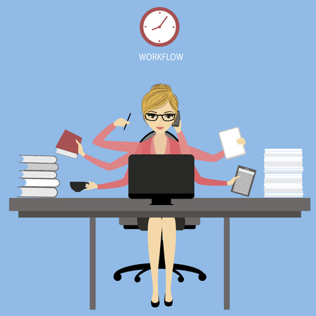 Multitasking  Businesswoman or office worker sitting at the computer and fashion icons or application.Business woman shiva vector illustration concept. Illustration