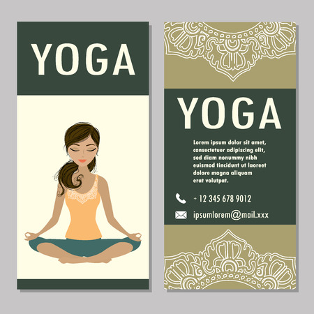 retreat: cards for Woman yoga studio with paisley ornament, banner or brochure template , vector illustration Illustration
