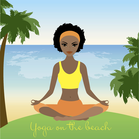 Cartoon african american woman  meditating in lotus pose on tropical beach. Stock Vector illustration