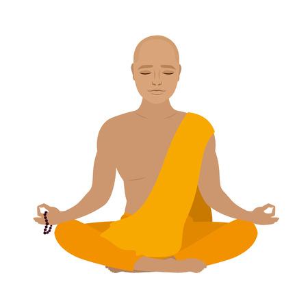 novice: Tibetan monk in an orange robe. Novice yoga. Buddhist in lotus position.Isolated on white background. Vector illustration