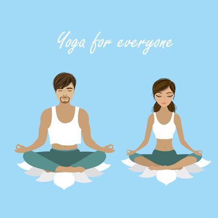 man meditating: Cartoon man and woman  meditating in lotus pose. Vector illustration Illustration