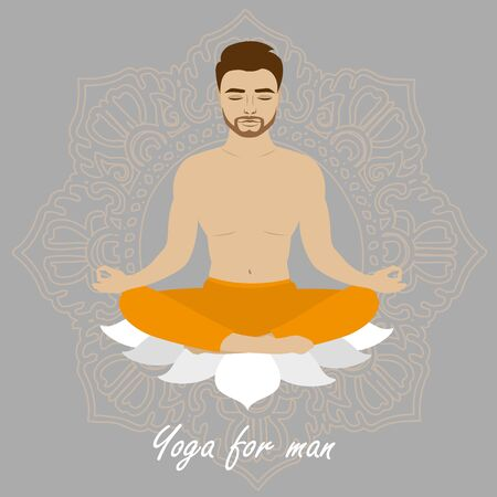 Lotus position man, yoga. Mustached bearded male.  Relaxation and meditation. Vector illustration