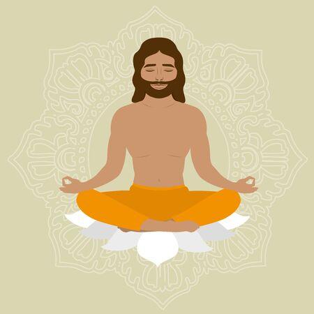 man meditating: man in a lotus pose. Healthy lifestyle. Vector illustration