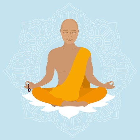 Tibetan monk in an orange robe. Novice yoga. Buddhist in lotus position. Vector illustration