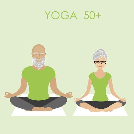 Anziano coppia di relax in posa yoga, illustrazione stock vettore Vettoriali