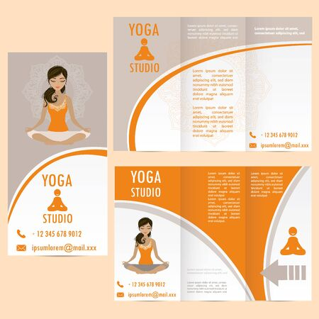 sexual chakra: cards for Woman yoga studio with paisley ornament and  girl in lotus asana, banner or brochure template , vector illustration Illustration