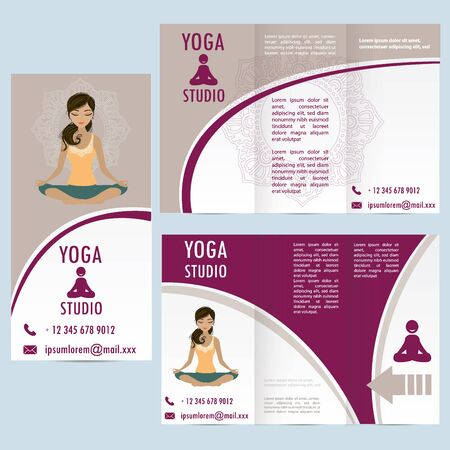 sexual chakra: cards for yoga studio with paisley ornament and woman in lotus asana, banner or brochure template , vector illustration