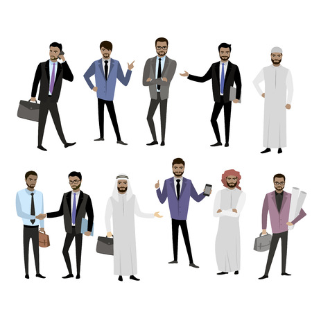 Big set cartoon Arab men, in different clothes and character, isolated on white, vector illustration Vector Illustration